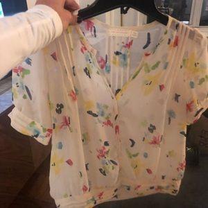 Paint stroke motif button down T-shirt blouse